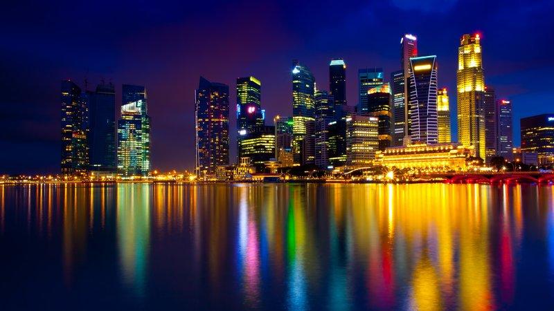 Download Wallpaper 3840x2160 Singapore, Night, Lights, Refle