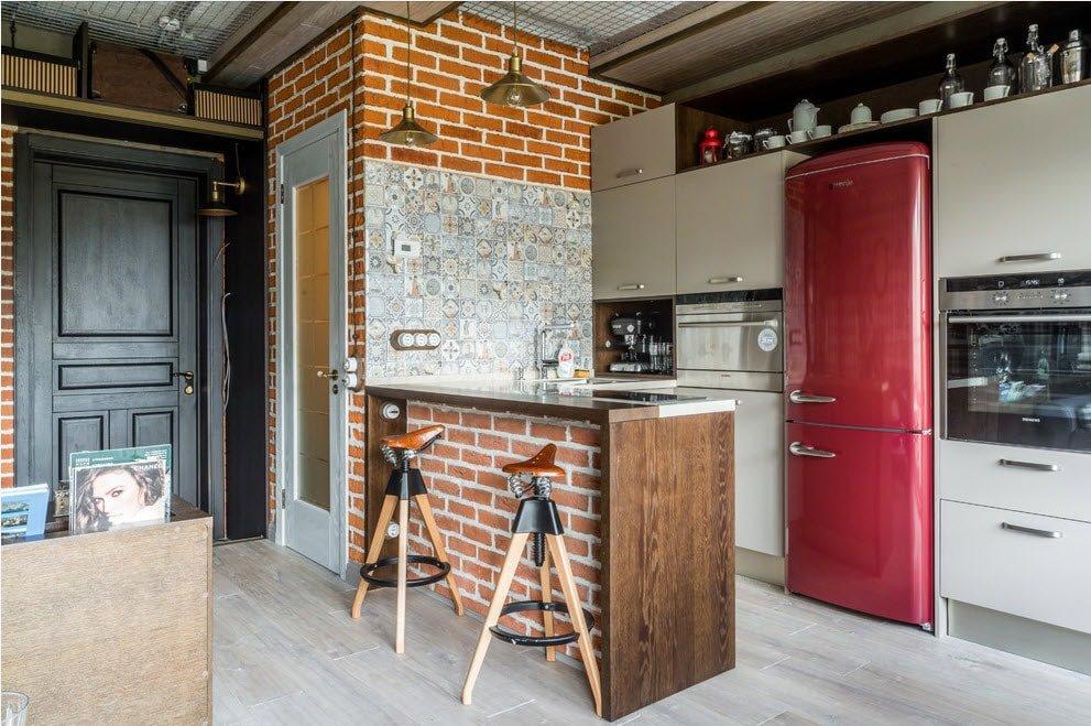 дизайн кухни в квартире в стиле лофт на фото маленькая кухня в