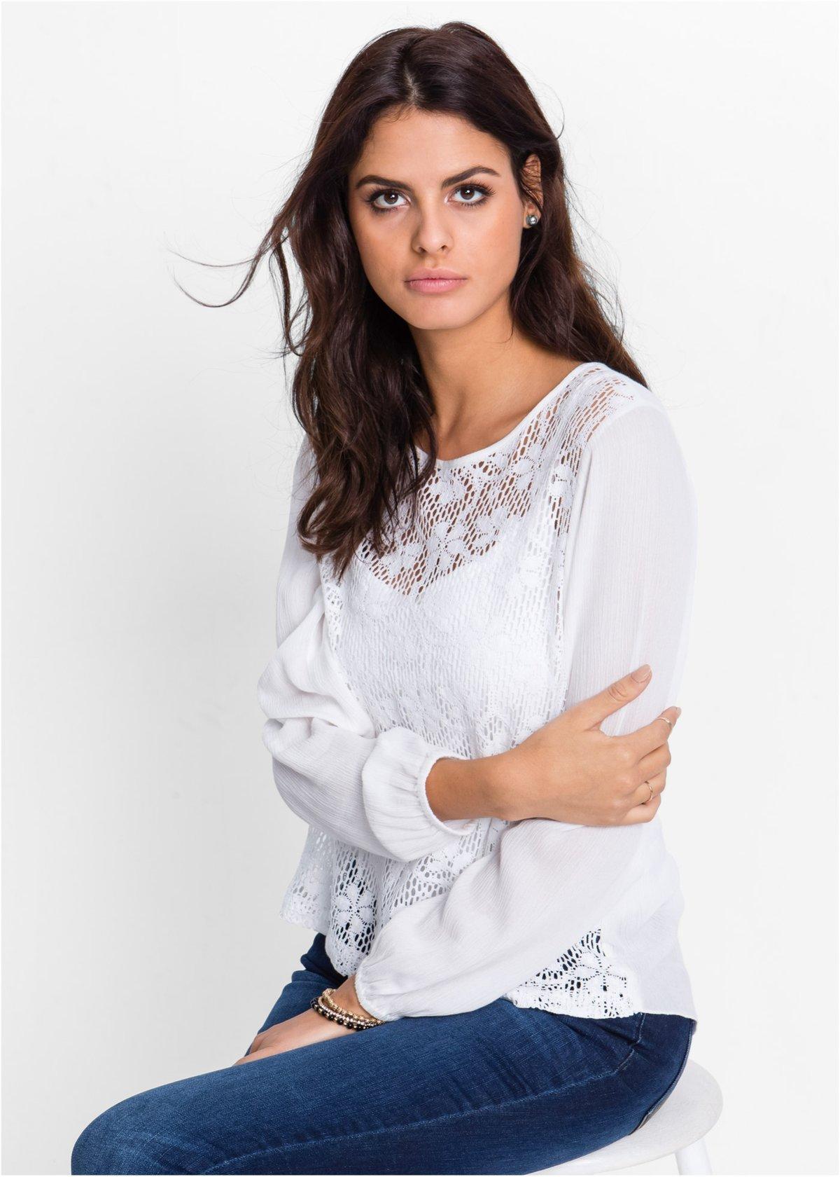 52a783819d8 ... Кружевная блузка из хлопка Красивая блузка с кружевной