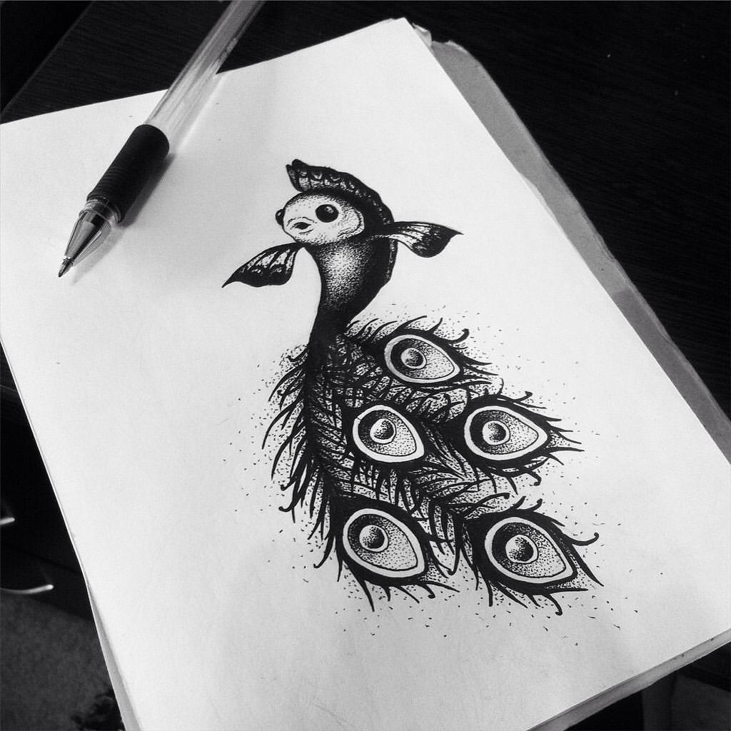 Нарисованные картинки черной ручкой