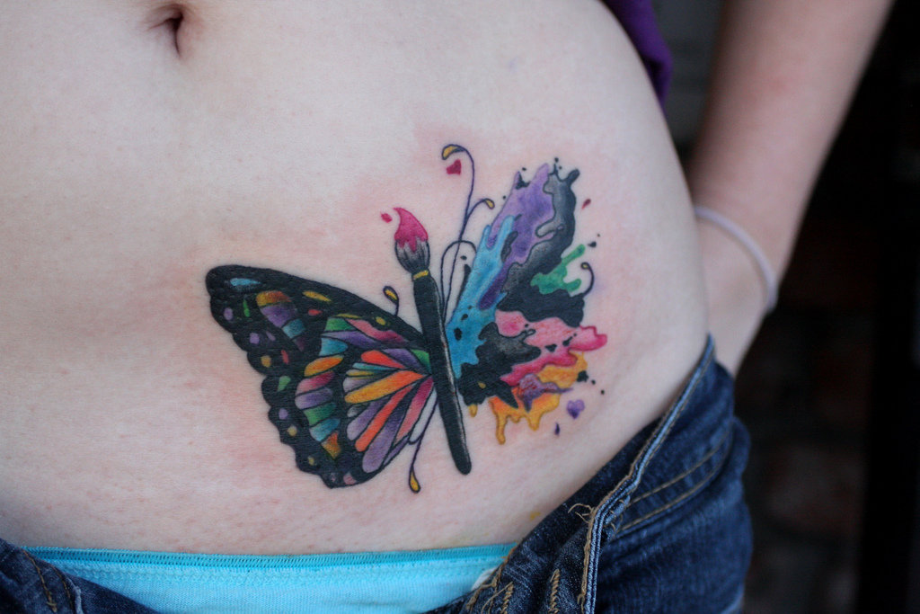watercolor tattoo butterfly - 1024×683