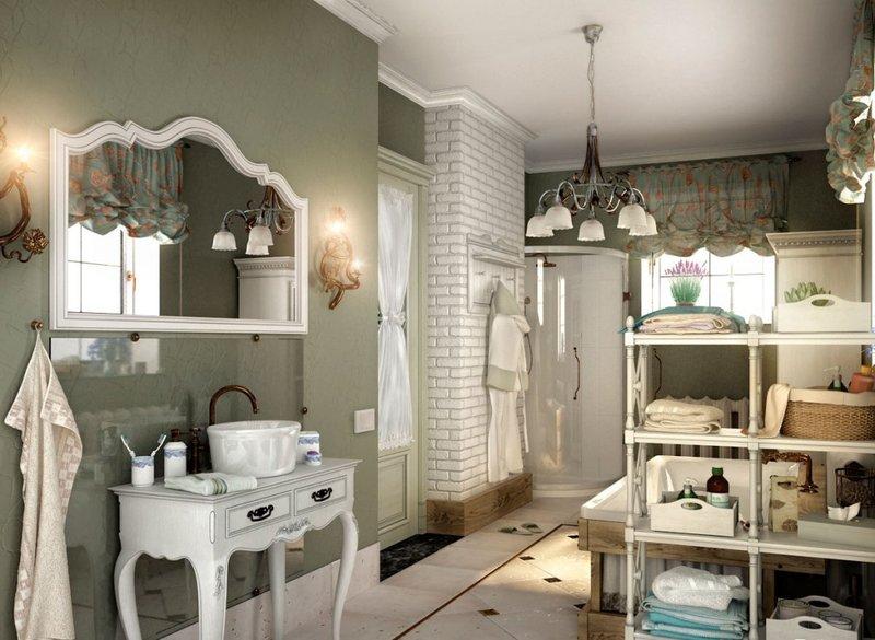 Большая ванная комната в стиле прованс: темные стены и белая мебель.