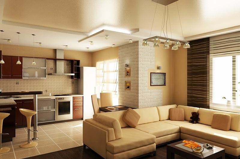 """Как оформить интерьер кухни, совмещенной с гостиной?"""" - карт."""