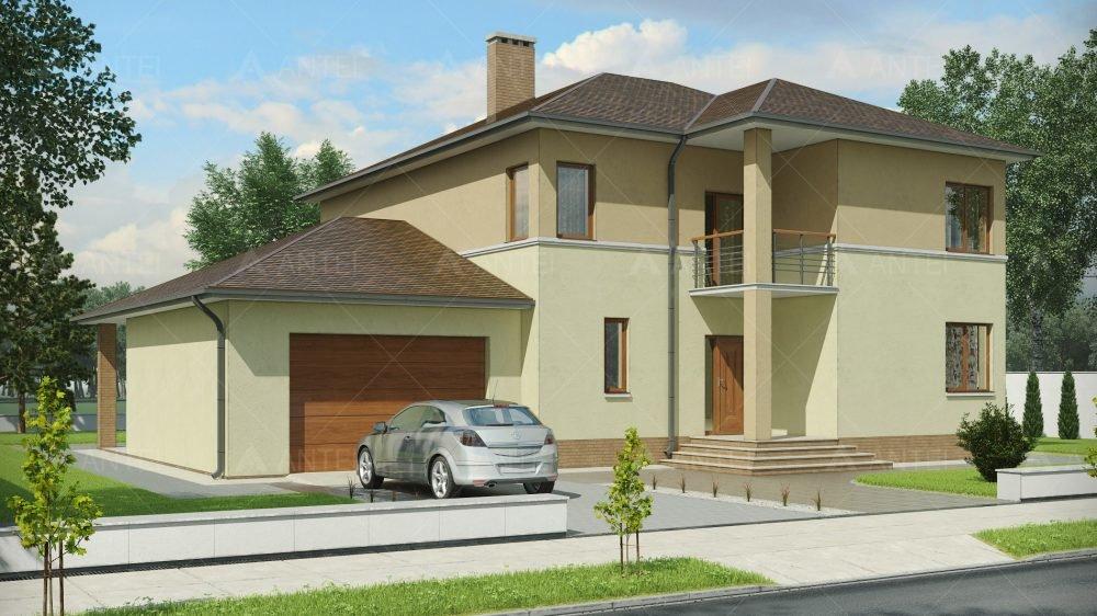 """Проект двухэтажного дома с гаражом, террасой и балконом """"кд-."""