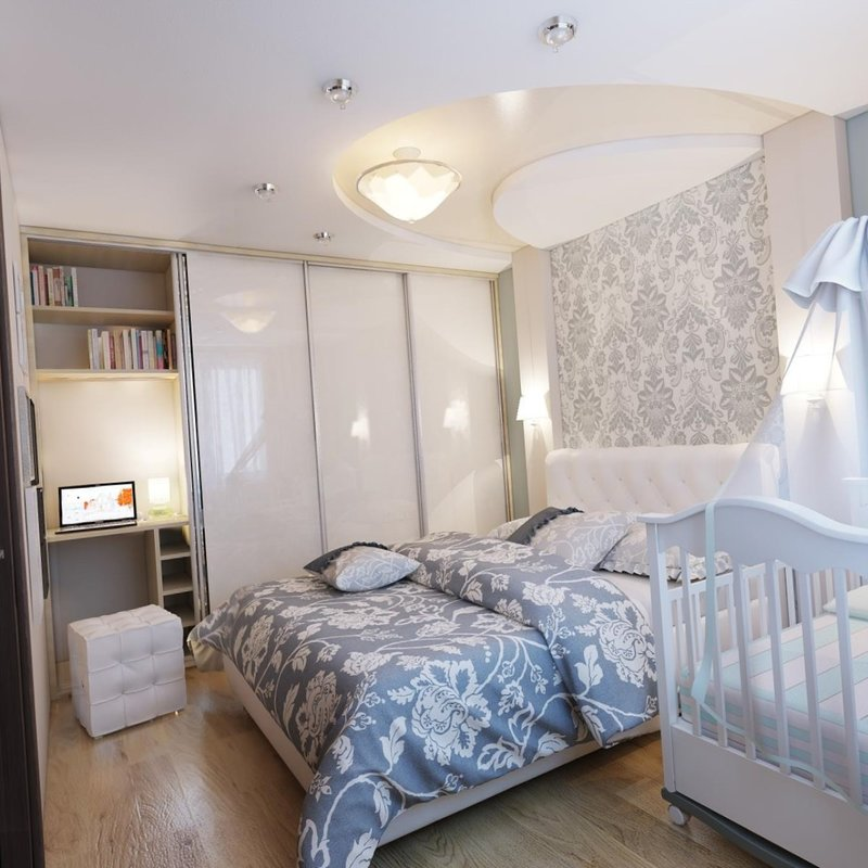 Спальня с детской кроваткой