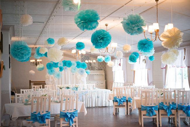 Яркое оформление зала на свадьбу
