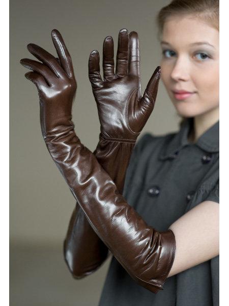 Перчатки Eleganse Стильные удлиненные перчатки из натуральной кожи.