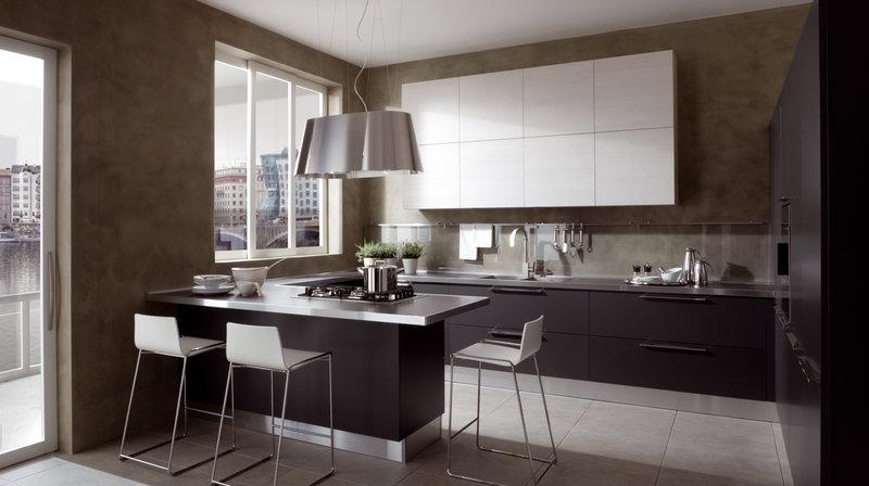 Кухня-столовая в стиле модерн.