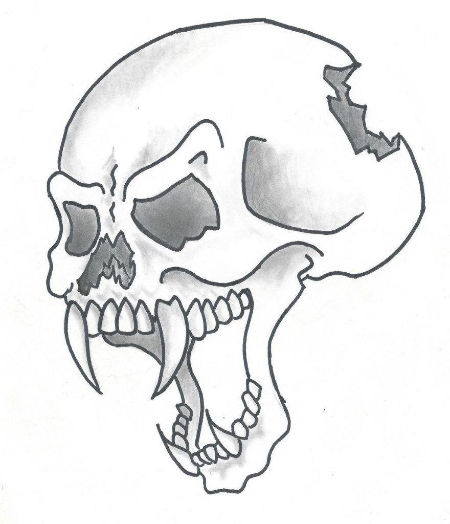 Картинка, прикольные рисунки черепов карандашом
