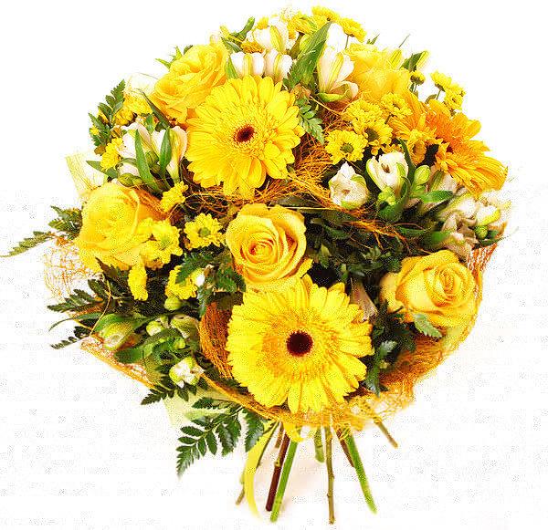 Можно купить, букет из желтых хризантем с герберами
