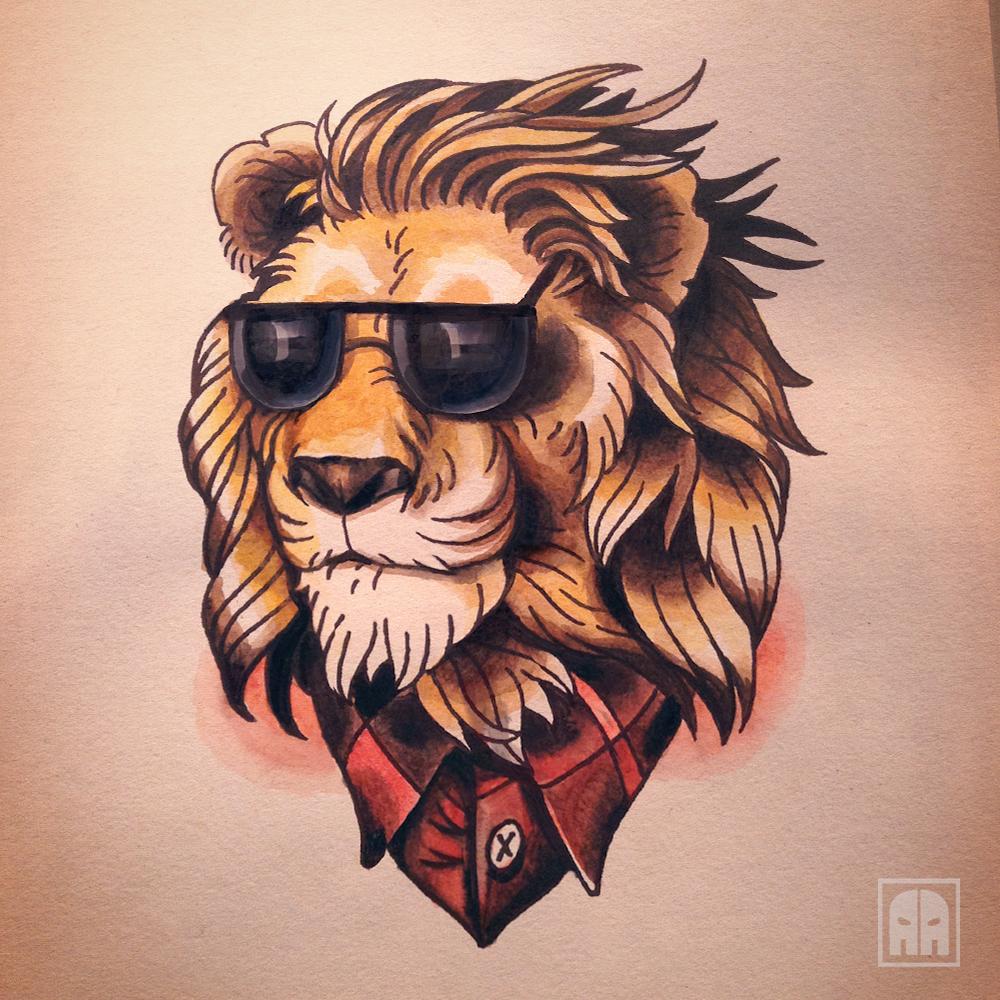 Лев рисунок прикольный