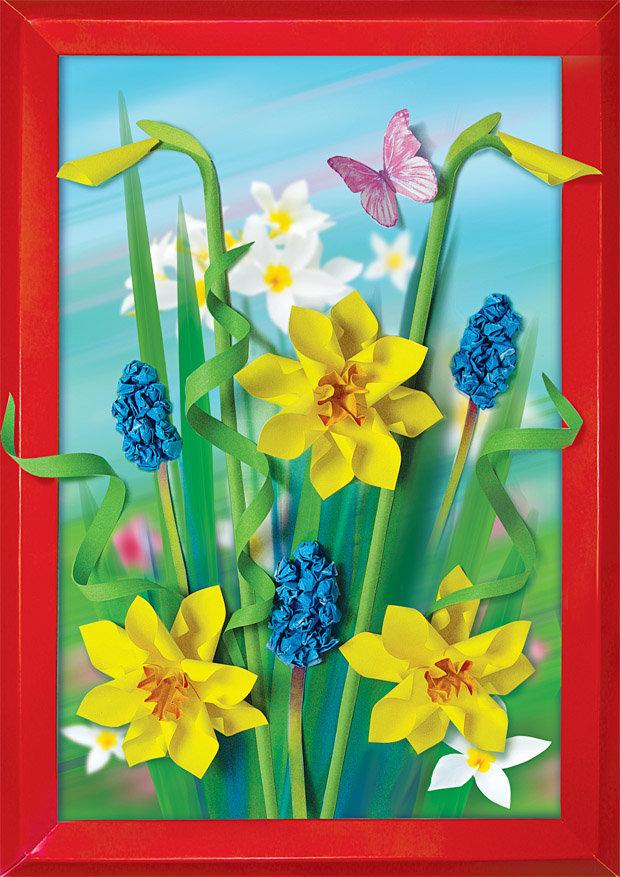 Объемная аппликация цветы открытки