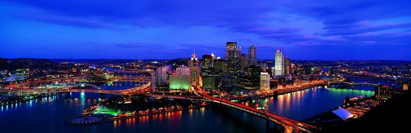 Питсбург, панорама, ночь