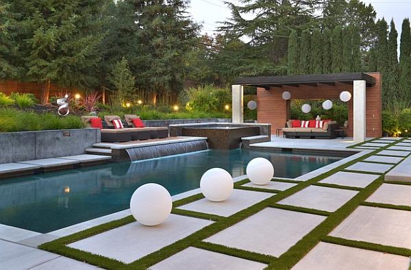 backyard landscape design with pool