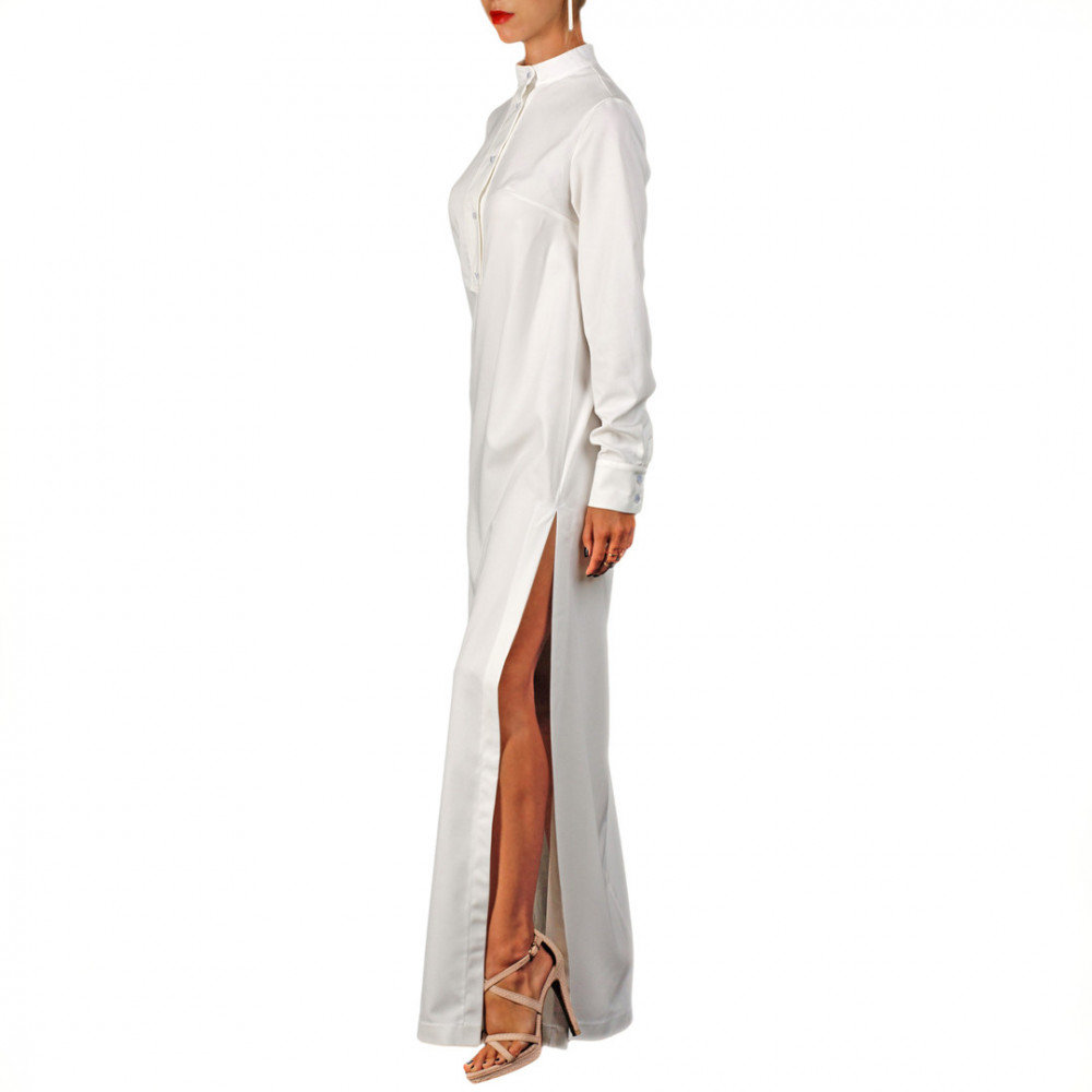 5ccc7d28057 Ручная Белое платье-рубашка в пол прямого силуэта