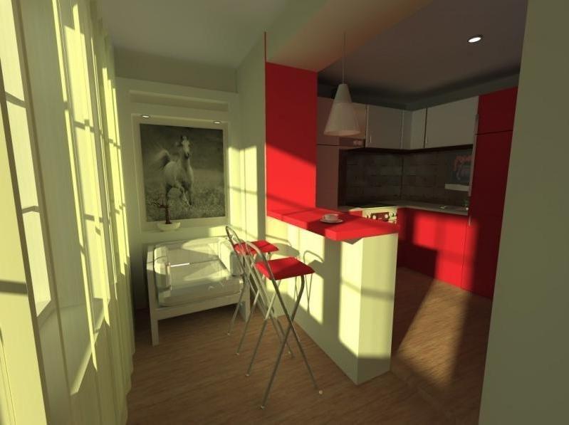 Лоджия совмещенная с кухней с дизайном в красном и белом цве.