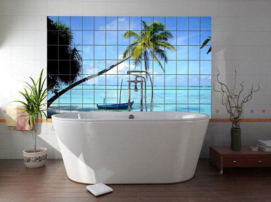 пальма на остравке принт в ванную