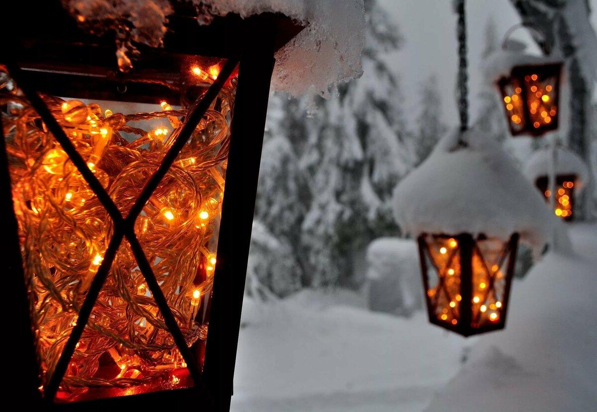 Картинка фонарь зимой