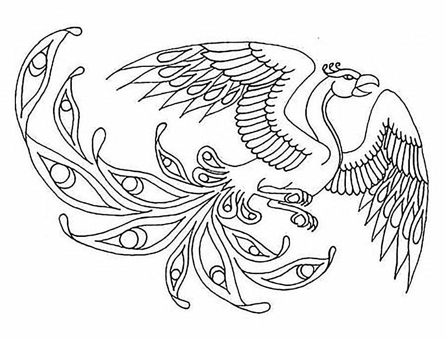Сказочная птица раскраска для детей