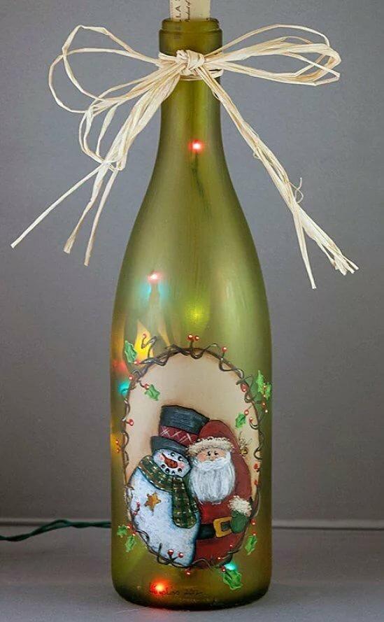 Поделка из стеклянной бутылки на новый год касается