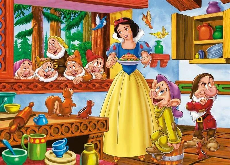 Картинка сказки белоснежка и семь гномов для детей