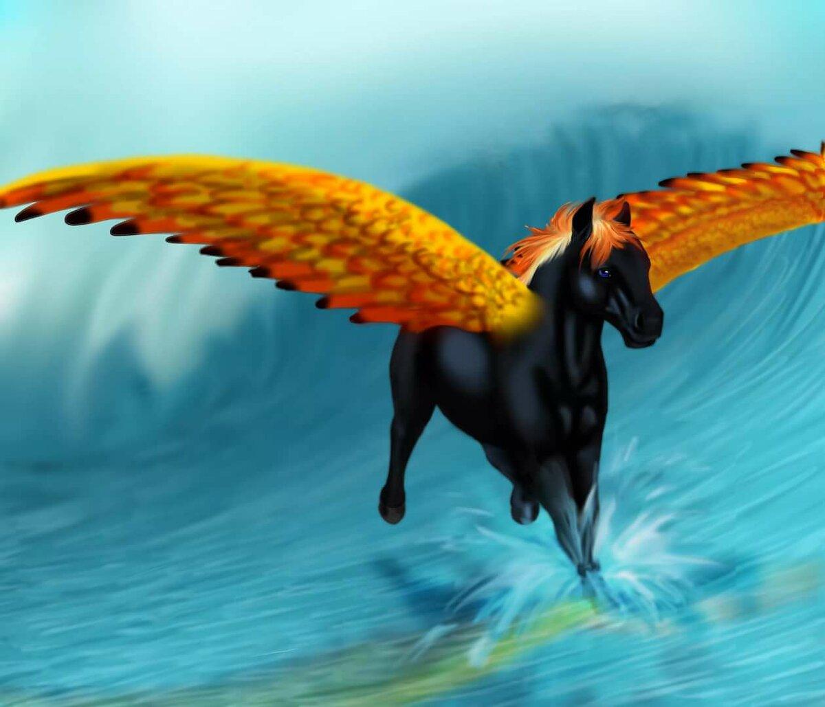 картинки про лошадей с крыльями и рогом живые