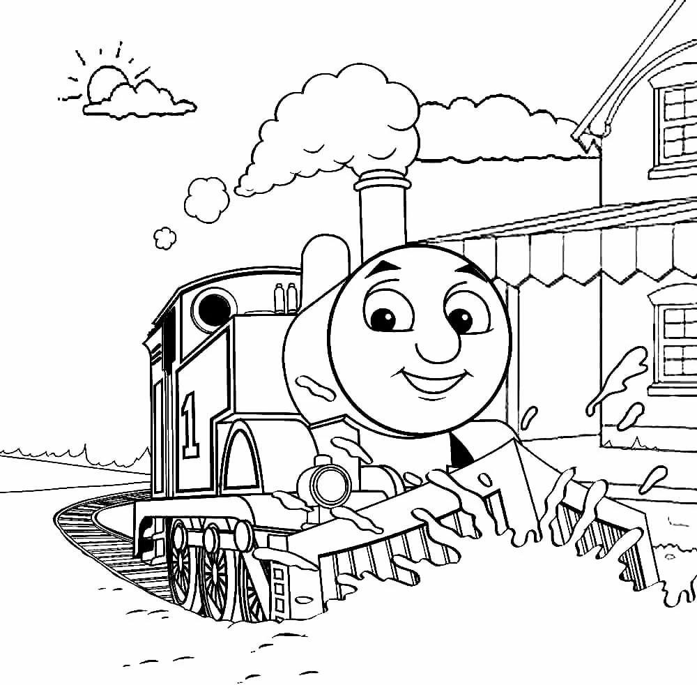 Картинки раскраски паровозик лева из ромашково томас