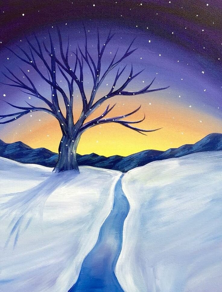 Нарисованные картинки с зимним пейзажем