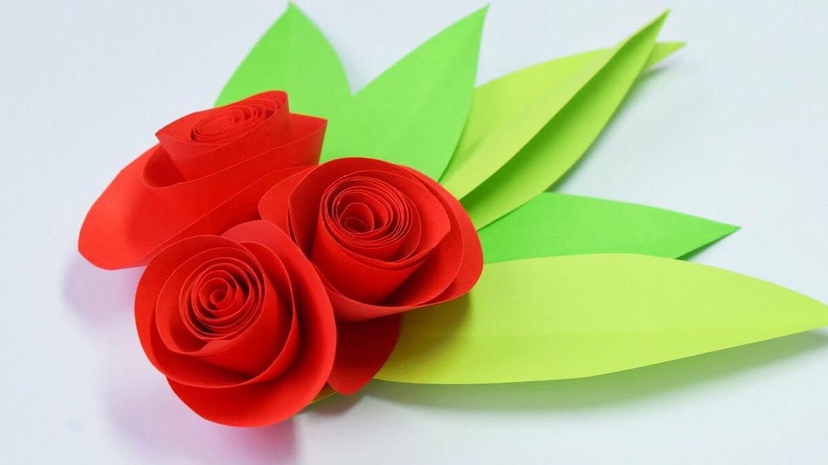Как сделать открытку с розой из бумаги