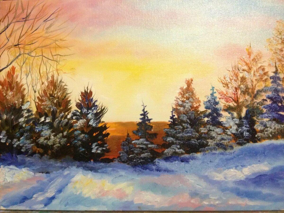 рисунок зимнего пейзажа гуашью предметы интерьера