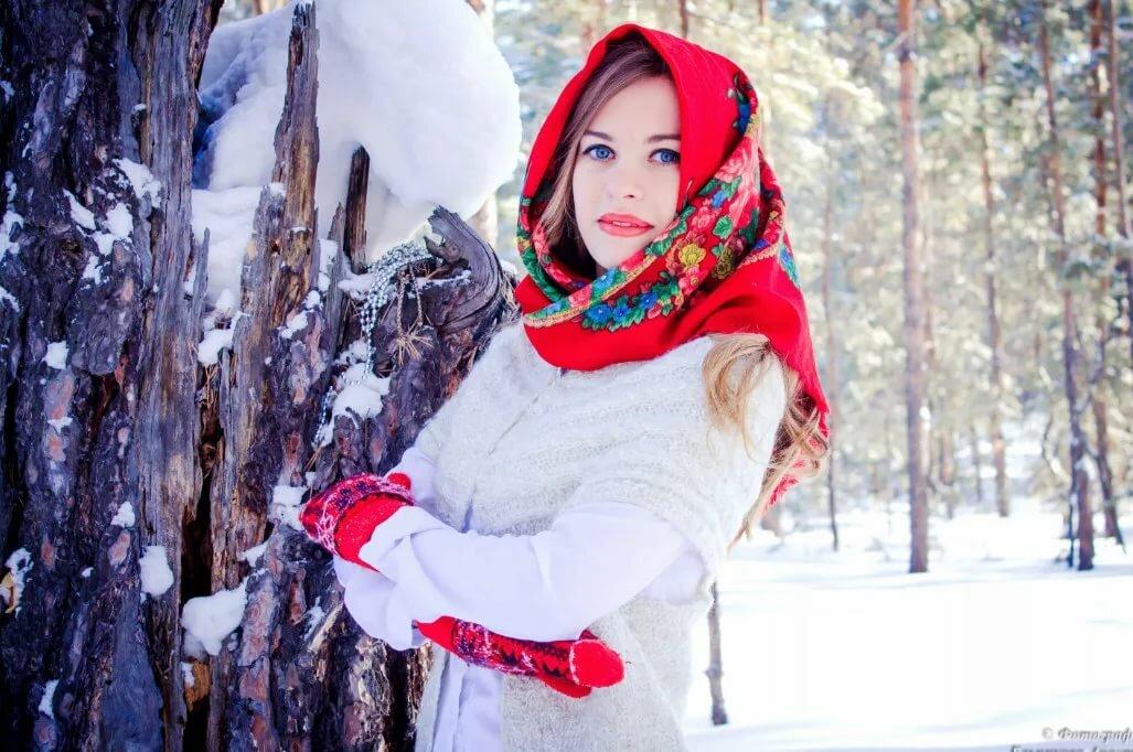 фото в русском платке зимой помогает мурене стрелой