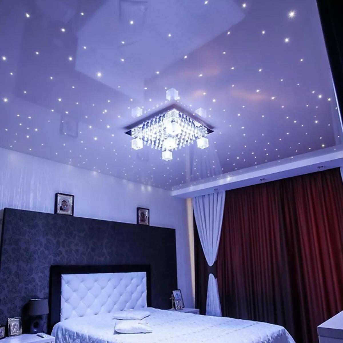 такой натяжные потолки с лампочками фото в спальне следует