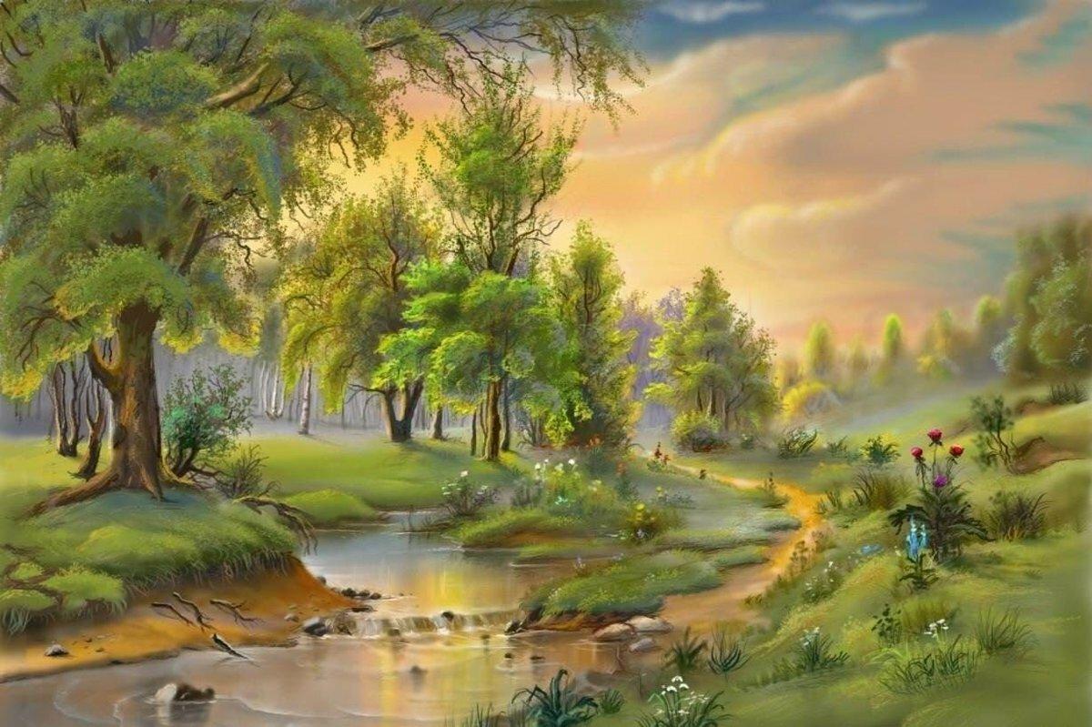 красочные картинки пейзажи значков