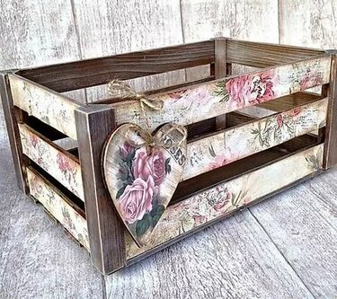 декупаж деревянного ящика