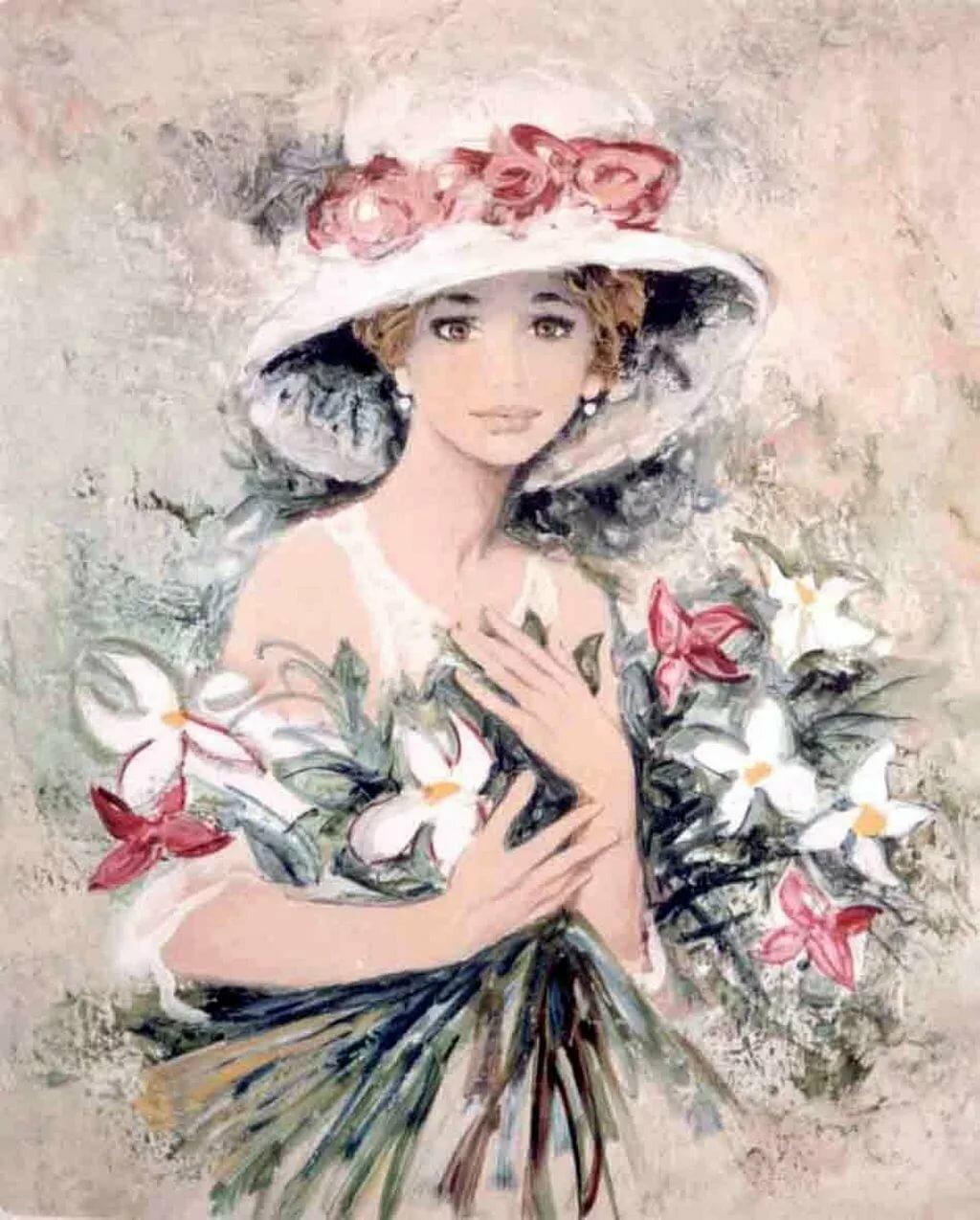 Картинки для декупажа девушки с цветами