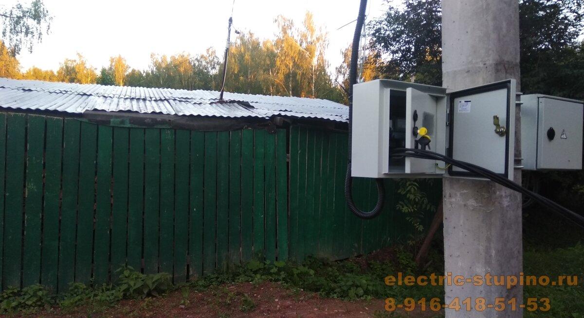 крепление электрощита на столбе в СНТ