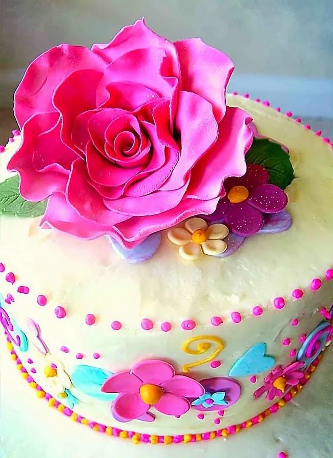 открытки с днем торты и цветы обои