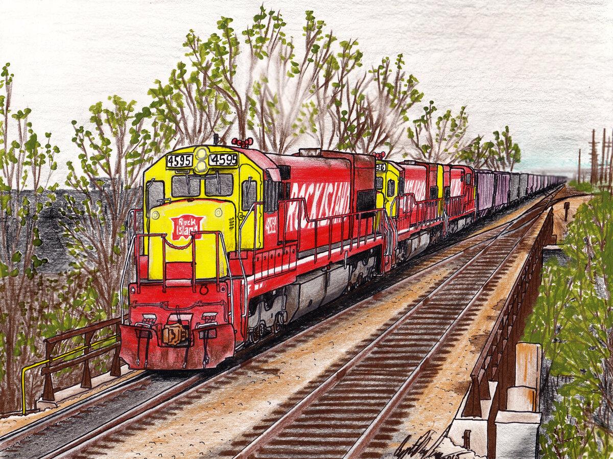 Картинки нарисованный поезд