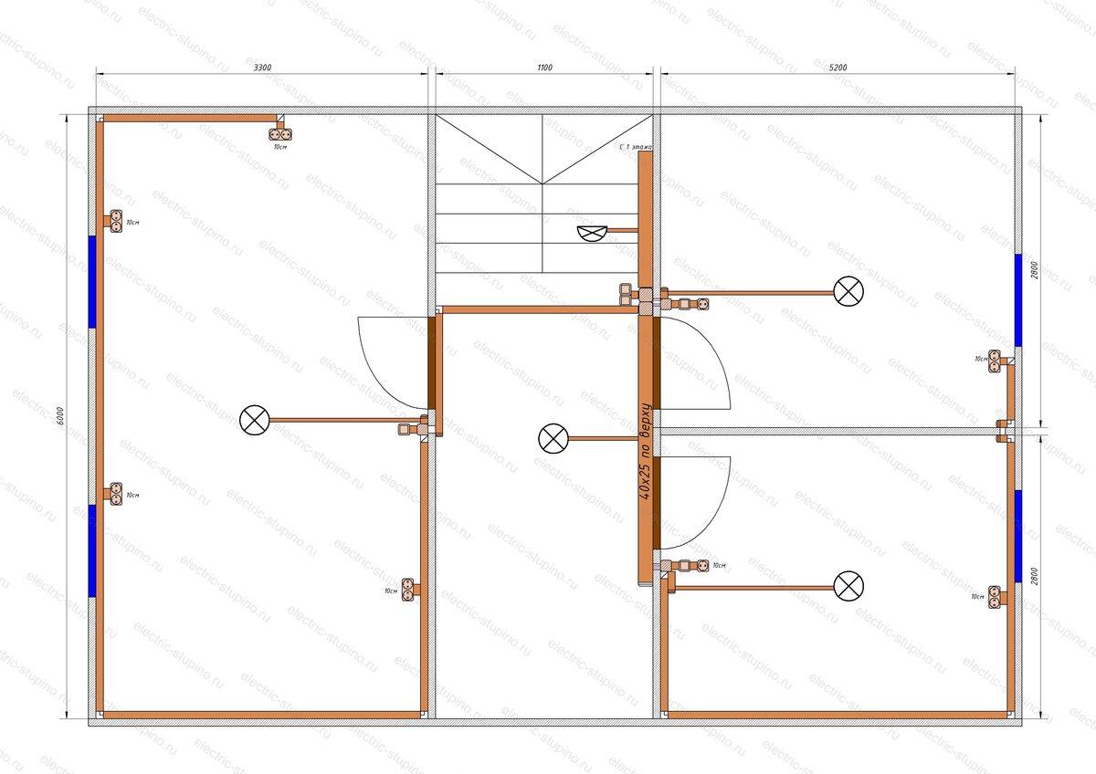 Схема Электропроводки в деревянном доме Кабельные трассы 2 этаж