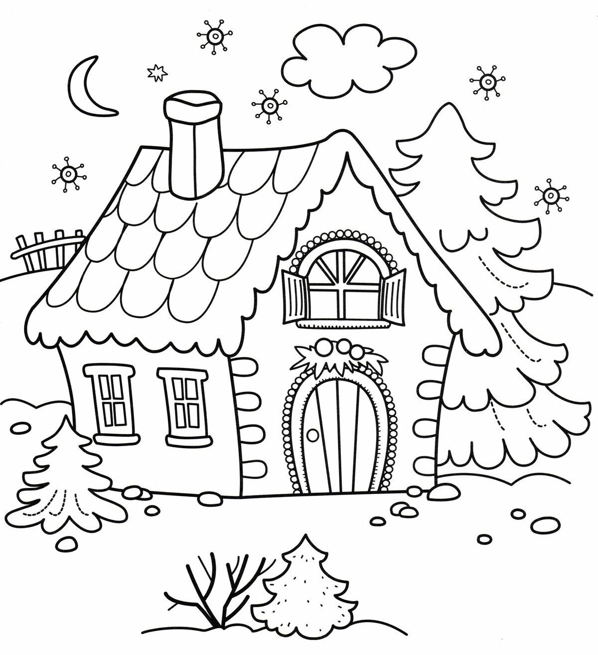 Картинка домика раскраска для детей распечатать