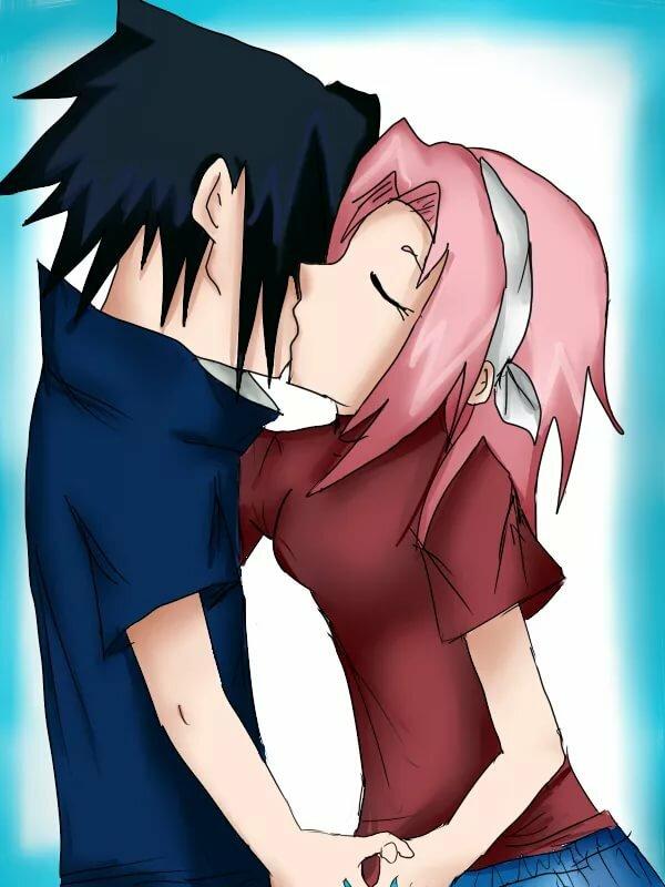 Наруто картинки поцелуев сакуры