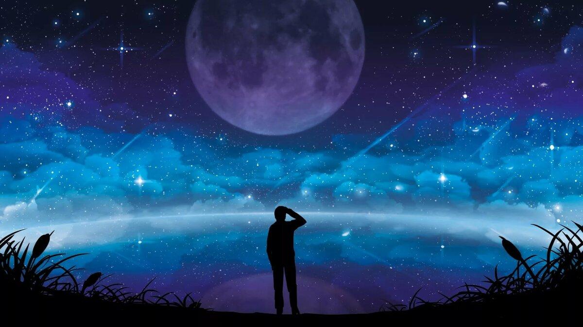 Девушка на фоне звездного неба рисунок