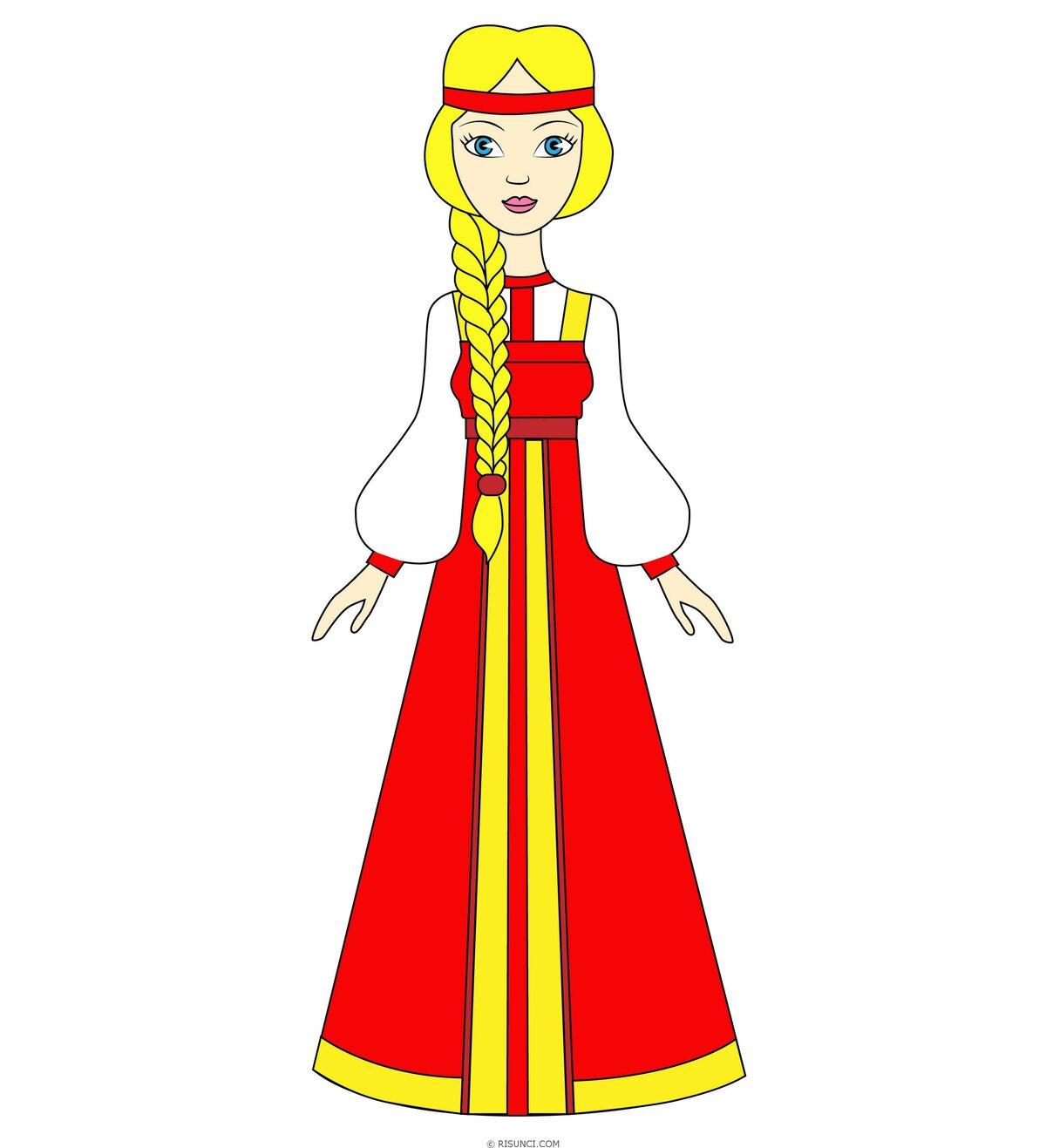 русские народные костюмы рисунок простой несколько
