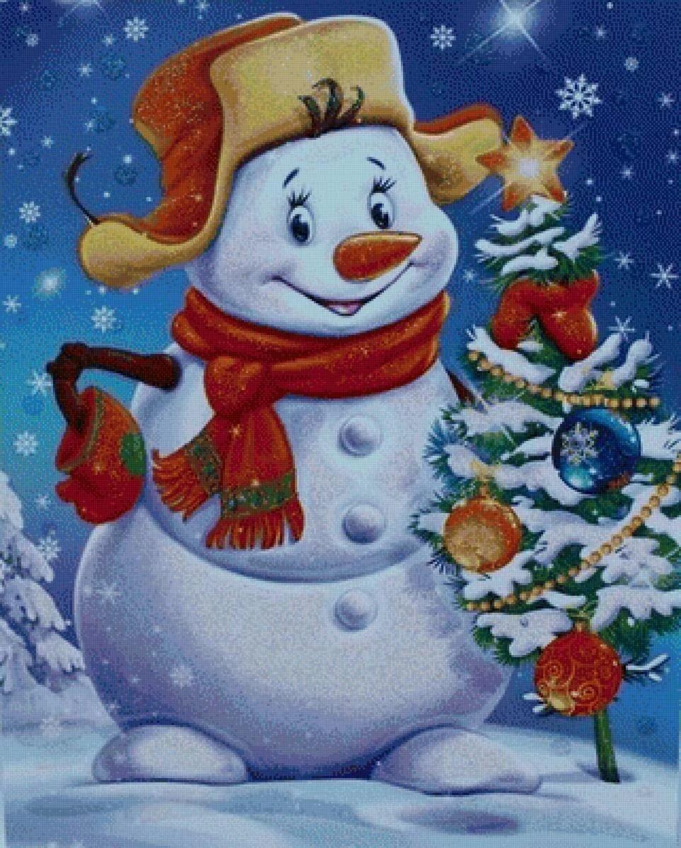 Картинка снеговики новогодние