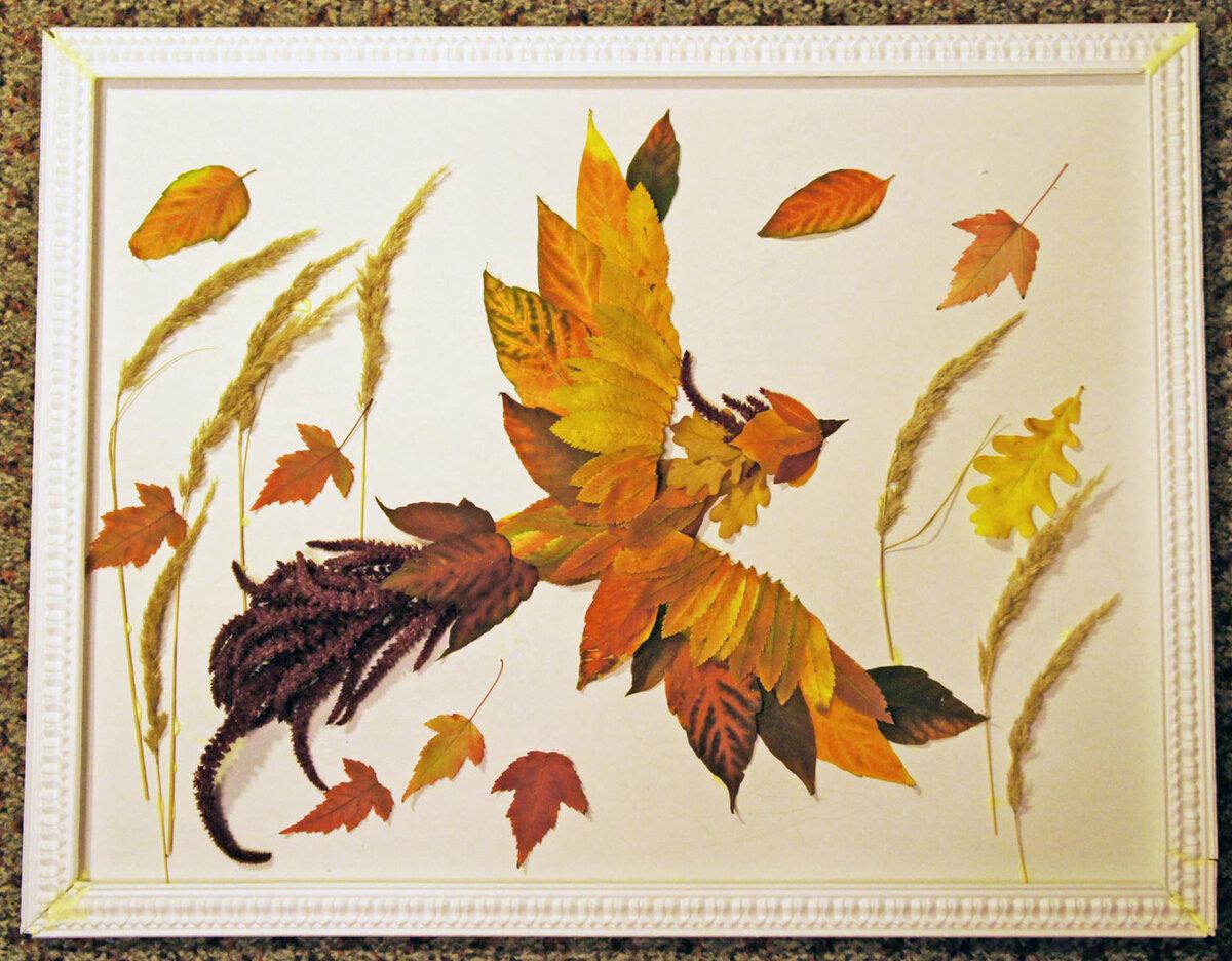 поделки и рисунки из листьев функцией