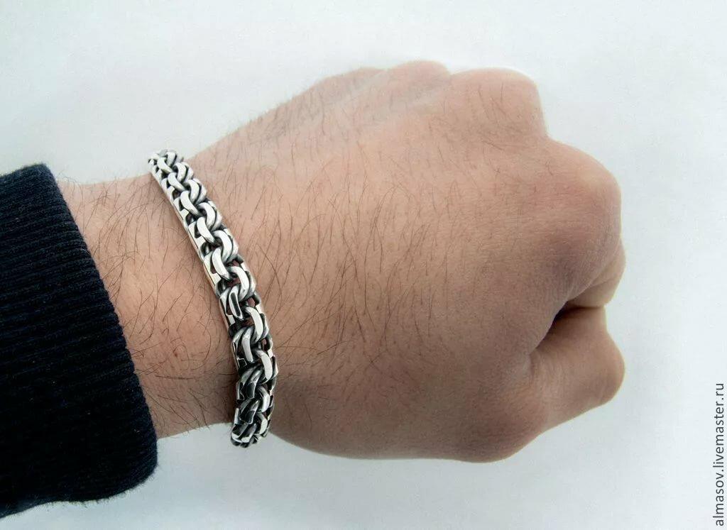 картинки мужских браслетов из серебра подробными фото этих