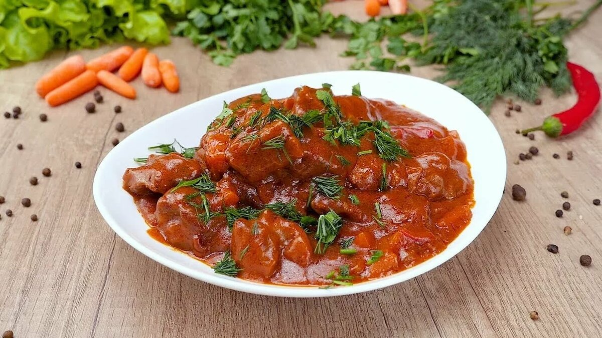 Гуляш из говядины простой домашний рецепт пошагово с фото