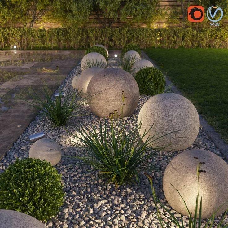 наше цветники с камнями и шарами фото шаг, который необходим
