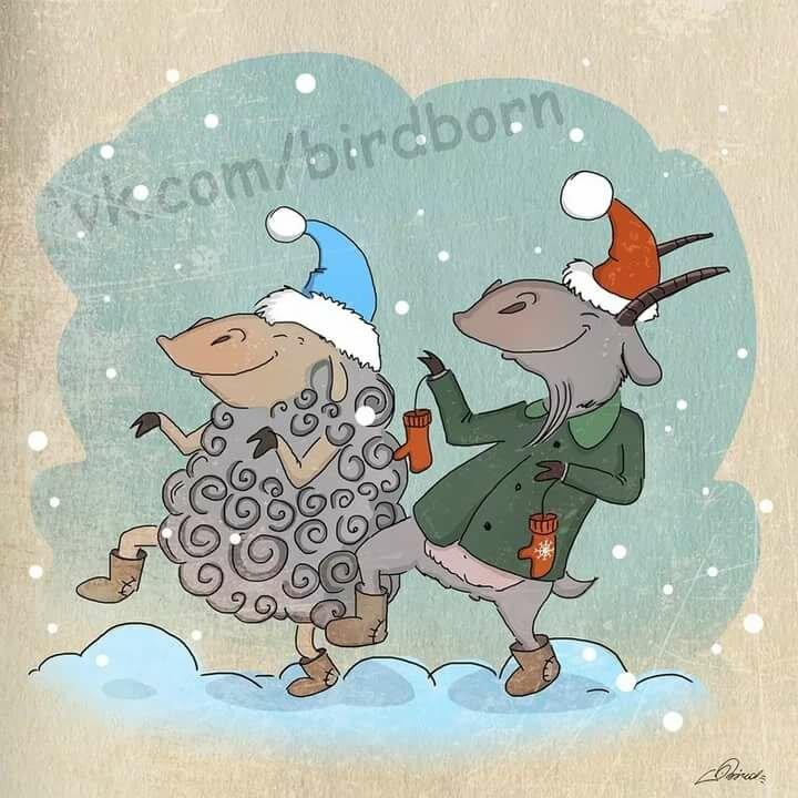 Забавные открытки к новому году