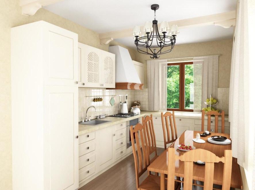 интерьер малогабаритной кухни гостиной в стиле прованс в квартире и